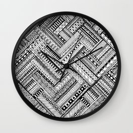 Tribal Ethnic Style  Black & White Wall Clock