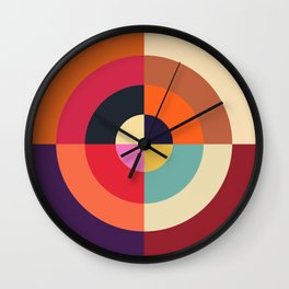 Autumn - Colorful Classic Abstract Minimal Retro 70s Style Graphic Design Wall Clock