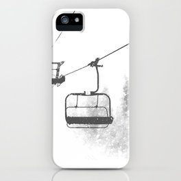 Chairlift Abyss // Black and White Chair Lift Ride to the Top Colorado Mountain Artwork iPhone Case