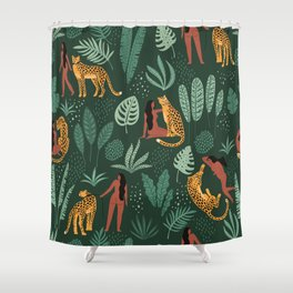 Nature Leopard Girl Shower Curtain