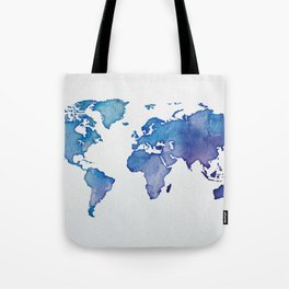 Blue World Map 02 Tote Bag