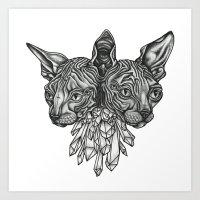 Siamoises Aux Crystaux Art Print