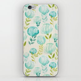 Vintage Aqua Blossoms iPhone Skin