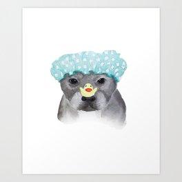 Pitbull Terrier Watercolor Illustration Art Print