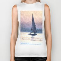 water colour Biker Tanks featuring Felucca Water Colour by Brian Raggatt