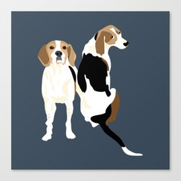 Gracie and Greta tree walker coonhounds Canvas Print