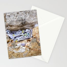 Israeli Jewish Kotel Wall Art Print - Prayer Notes In the Western Wall - Papers Into a Kotel Stone - Photography Home Decor Stationery Cards