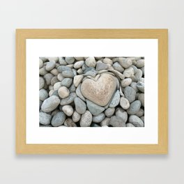 heart love stones in the quarry Framed Art Print