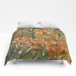 Floral orange print Comforters