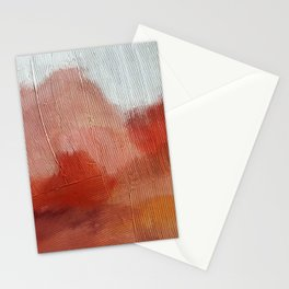Desert Journey [2]: a textured, abstract piece in pinks, reds, and white by Alyssa Hamilton Art Stationery Cards