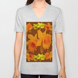 YELLOW SPRING DAFFODILS & COFFEE BROWN COLOR ART Unisex V-Neck