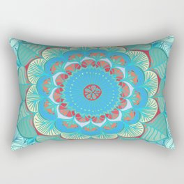 In Full Bloom - detailed floral doodle in blue, green & red Rectangular Pillow