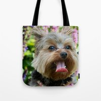 yorkie Tote Bags featuring Happy Yorkie by IowaShots