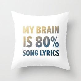 Funny Brain Song Lyrics Throw Pillow