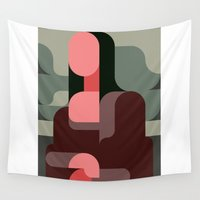 mona lisa Wall Tapestries featuring Mona Lisa Flatdesign by NEMURY