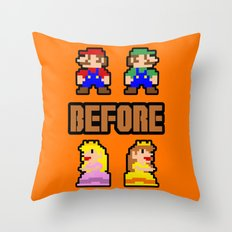 Super Mario Bros Before Hoes Throw Pillow