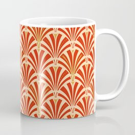 Art Deco Fan Pattern, Mandarin Orange Coffee Mug