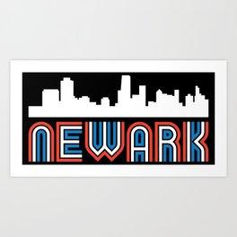 Red White Blue Newark New Jersey Skyline Art Print