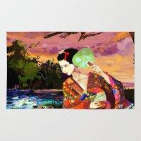 kitsune Area & Throw Rugs featuring Kitsune by Sandpaperdaisy