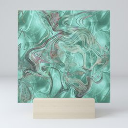 Mint Gem Green Marble Swirl Mini Art Print