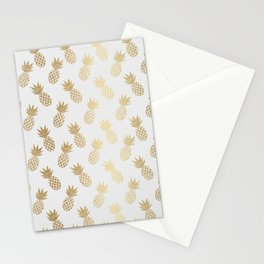 Gold Pineapple Pattern Stationery Cards
