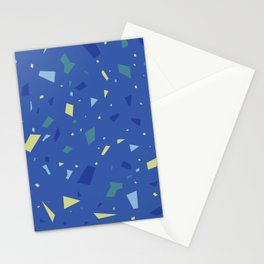 True Blue Terrazzo - Yellow and Navy Speckles Granite Marble Pattern Stationery Cards