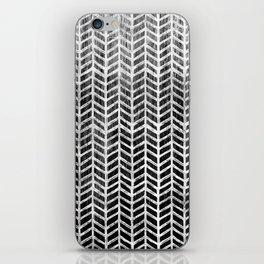 Herringbone & Teak (Black & White) iPhone Skin