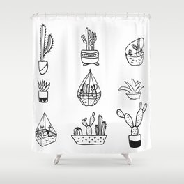 Minimalist Cacti Collection Black and White Shower Curtain