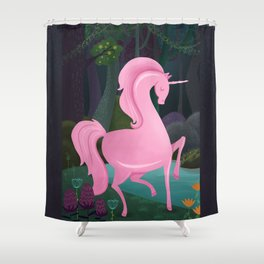 Enchanted Woodlands With A Pink Unicorn Shower Curtain