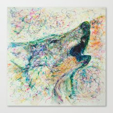 Energetic Howling Wolf Canvas Print