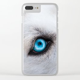 Siberian Husky Eyes (Color) Clear iPhone Case