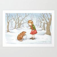 lucy Art Prints featuring Lucy by Amanda Francey