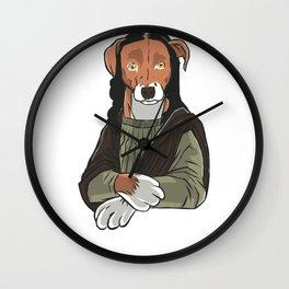 Dog Mona Lisa Fine Art Bark Beagle Dog Painting graphic Wall Clock