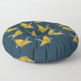 PAPER CRANES NAVY AND YELLOW Floor Pillow