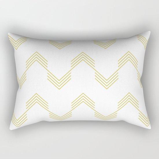 Simply Deconstructed Chevron Mod Yellow on White Rectangular Pillow