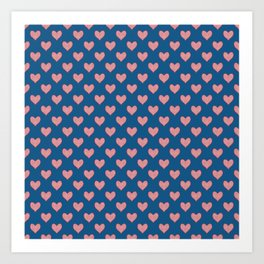 Red Hearts on Navy Blue Art Print