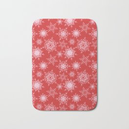 Christmas pattern with snowflakes on red. Bath Mat