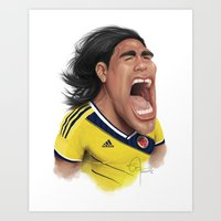 colombia Art Prints featuring Falcao - Colombia by Sant Toscanni