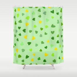 Love, Romance, Hearts - Yellow Green Shower Curtain
