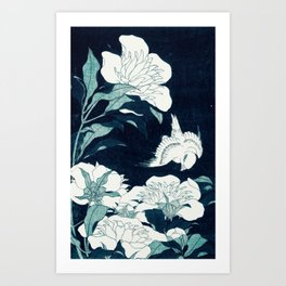 JAPANESE FLOWERS Midnight Blue Teal Art Print