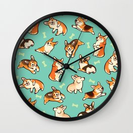Jolly corgis in green Wall Clock