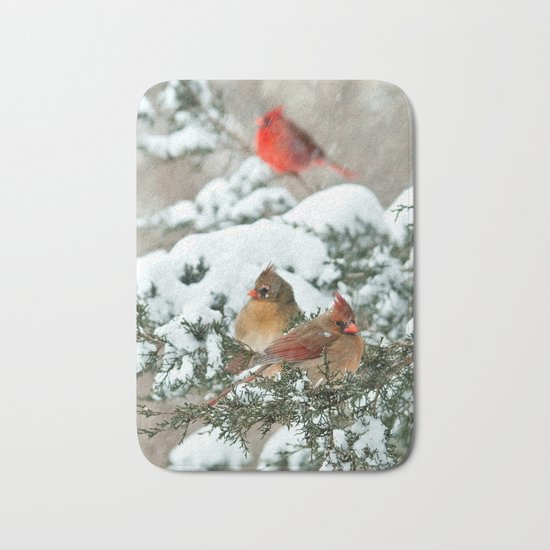After the Snow Storm: Three Cardinals Bath Mat