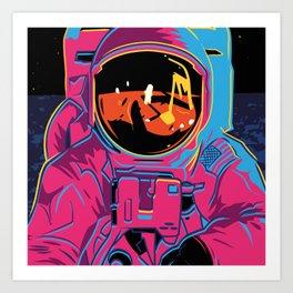 Synthwave Space - Buzz Aldrin, Moon Art Print
