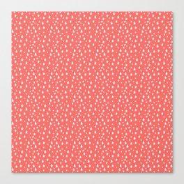 Coral White Stars Pattern Canvas Print