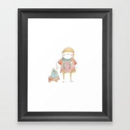 Bird Elf with a Gift Framed Art Print
