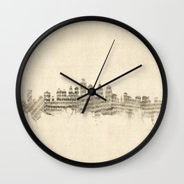 Philadelphia Pennsylvania Skyline Sheet Music Cityscape Wall Clock