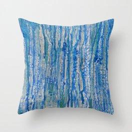 Encaustic Streaks (blue) Throw Pillow