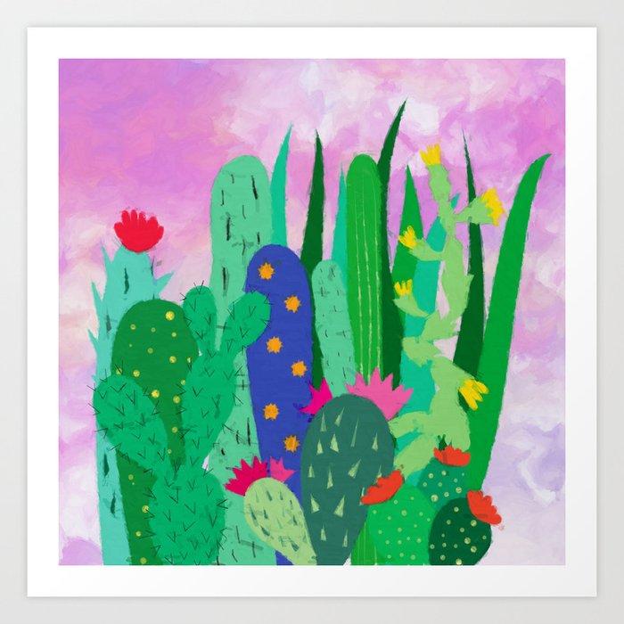 Painted cacti Art Print