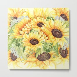 Watercolor Yellow Sunflowers and Greenery Metal Print