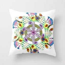Foxgloves and Thistles Mandala Throw Pillow